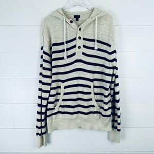 J. Crew XL cotton striped hoodie sweater